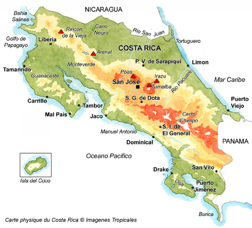 Carte physique du Costa Rica  © Imagenes Tropicales