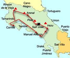 Costa Rica Karte Sehenswurdigkeiten.Ferien Urlaub Rundreise Reisen In Costa Rica Mietwagen